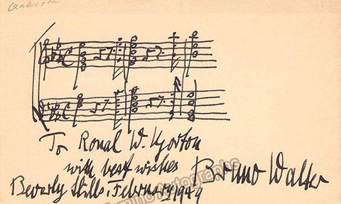 Walter, Bruno - Autograph Music Quote Signed 1949