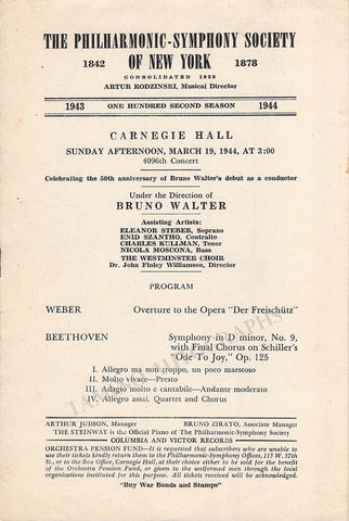 Walter, Bruno - Carnegie Hall Concert Program 1944 - Walter's 50th Anniversary