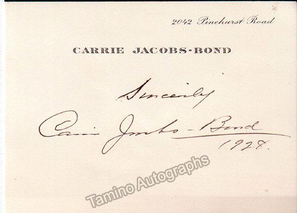 Jacobs-Bond, Carrie - Signed Photograph & Card