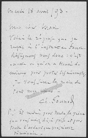 Gounod, Charles - Autograph Note Signed 1893