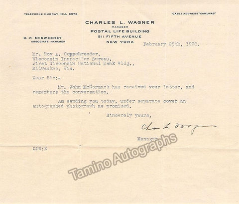 Wagner, Charles L. - Typed Letter Signed 1920