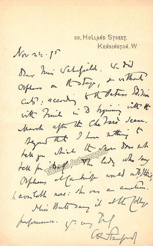 Villiers Standford, Charles - Autograph Letter Signed 1895