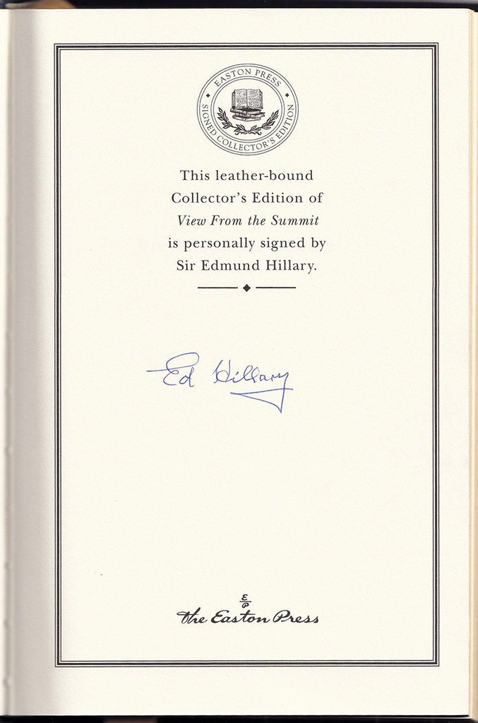 "Hillary, Edmund - Signed Book ""View from the Summit"""