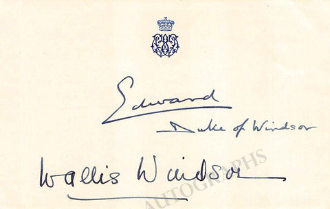 Edward (Duke of Windsor) - Windsor, Wallis - Signed Card and Photo