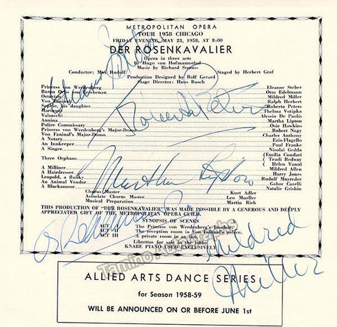 Steber, Eleanor - Peters, Roberta - Lipton, Martha - Edelmann, Otto - Miller, Mildred - Signed Program Clip in Der Rosenkavalier 1958