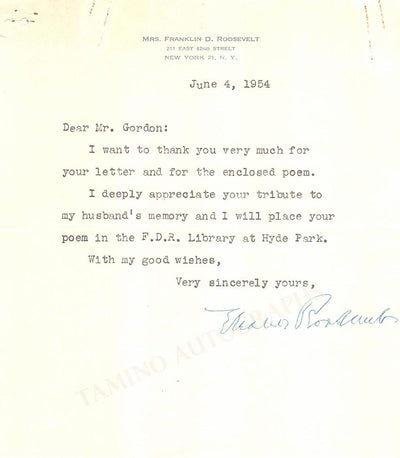 Roosevelt, Eleanor - Typed Letter Signed 1954