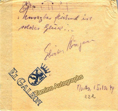 Hongen, Elisabeth - Autograph Music Quote Signed 1949