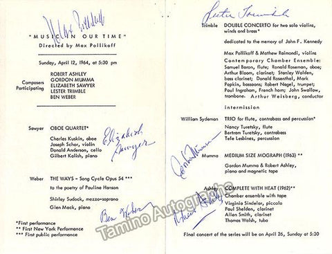 Sawyer, Elisabeth - Weber, Ben - Trimblee, Lester - Mumma, Gordon - Ashley, Robert - Signed Program New York 1964