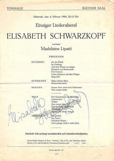 Schwarzkopf, Elisabeth - Signed Program Zurich 1955