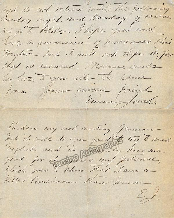 Juch, Emma - 2 Autograph Letters Signed 1887 and 1889.