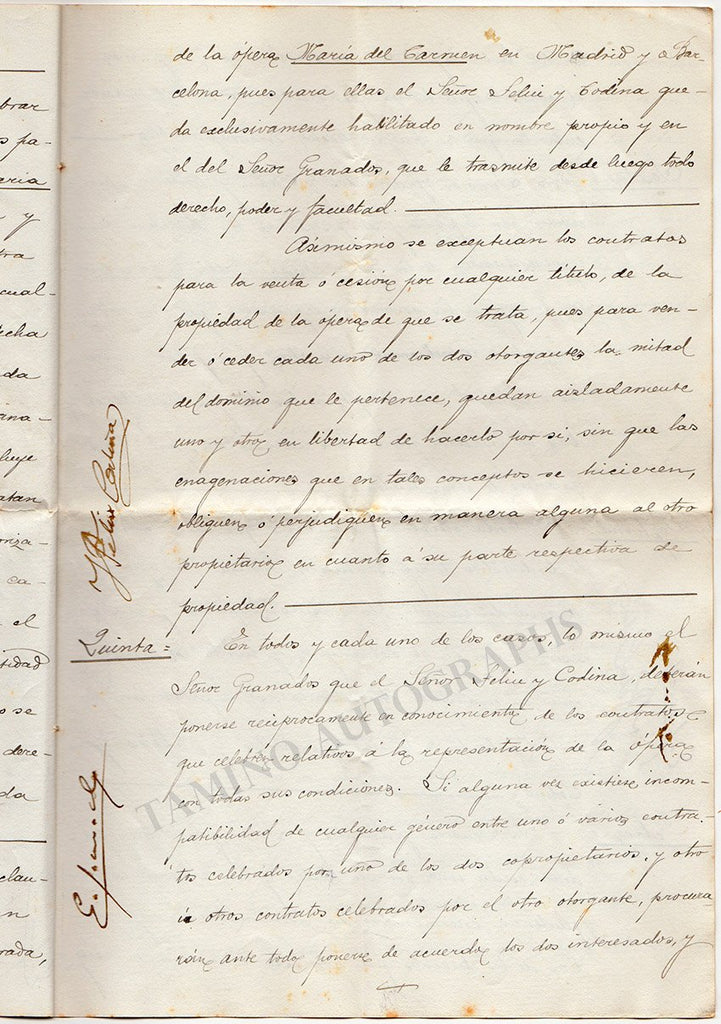 "Granados, Enrique - Signed Contract for ""Maria del Carmen"" 1896"