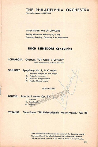 Leinsdorf, Erich - Signed Program Philadelphia 1958