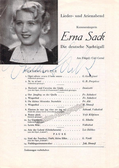 Sack, Erna - Signed Program