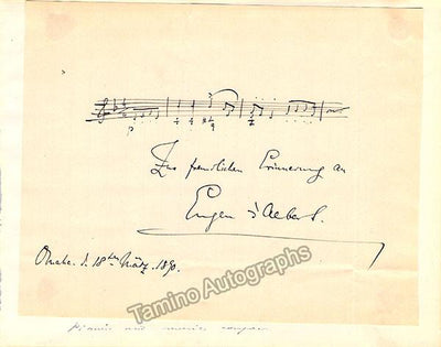 D'Albert, Eugene - Autograph Music Quote Signed 1890
