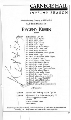 Kissin, Evgeny - Signed Cast Page Carnegie Hall, N.Y., 1999