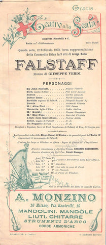 Falstaff - 3rd Performance Program La Scala 1893