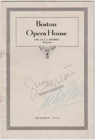 Pons, Lily - Farrar, Geraldine - Double Signed Program 1934