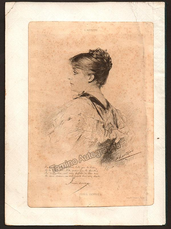 Devries, Fides - Signed Album Page with Cabinet Photo 1884