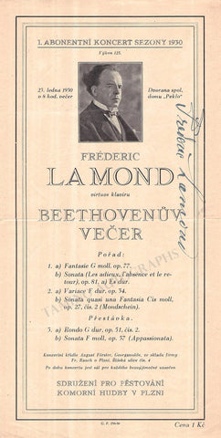 Lamond, Frederic - Signed Playbill 1930