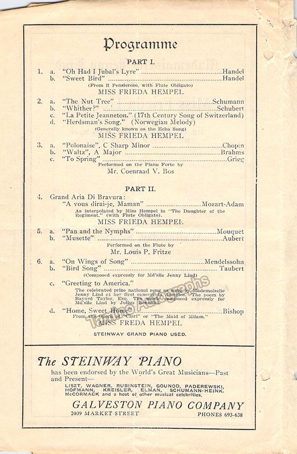 Hempel, Frieda - Signed Concert Program 1923