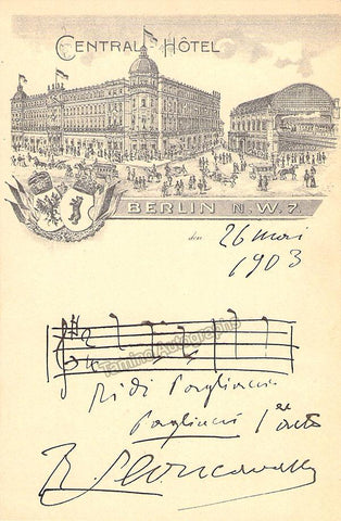 Leoncavallo, Ruggero - Signed Autograph Music Quote from Pagliacci 1903