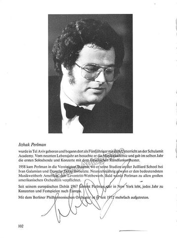 Perlman, Itzhak - Signed Photo