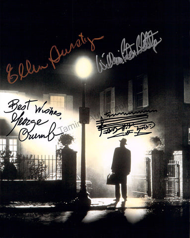 Crumb, George - Burstyn, Ellen - Blatty, William Peter - Triple Signed Photograph with Music Quote