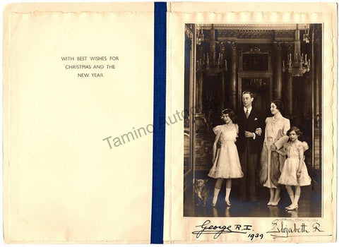 King George VI - Queen Elizabeth - Double Signed Card 1939