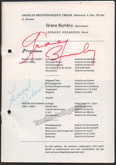 Bumbry, Grace - Hokanson, Leonard - Signed Program Kassel, Germany 1968