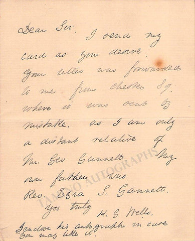 Wells, Herbert George (H.G.) - Autograph Note Signed