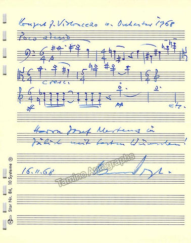 Vogt, Hans - Autograph Music Quote Signed 1968