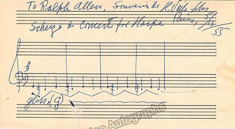 Villa-lobos, Heitor - Autograph Music Quote Signed 1955