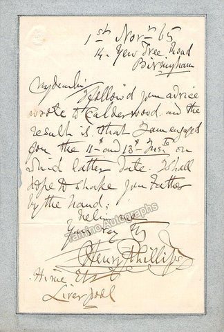 Phillips, Henry - Autograph Note Signed 1865