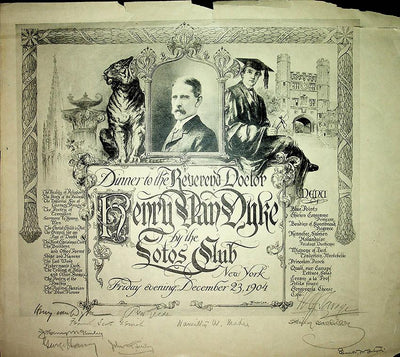 Writers - Signed Lotos Club Dinner Menu (Various Autographs)