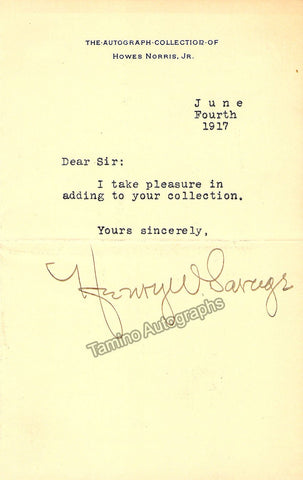 Savage, Henry W. - Typed Note Signed 1917