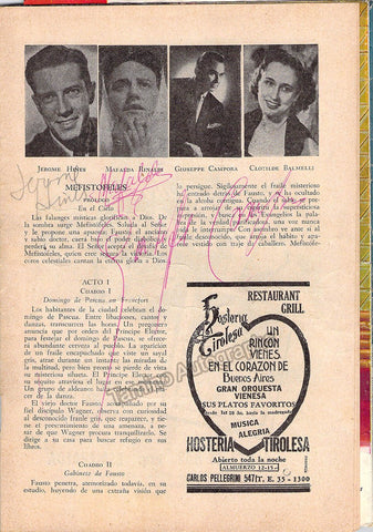 Hines, Jerome - Campora, Giuseppe - Rinaldi, Mafalda - Signed Program Page Teatro Colon 1954