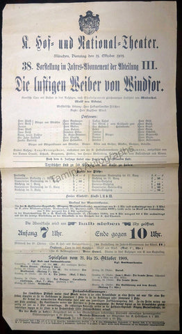 The Merry Wives of Windsor - Large Playbill Munich 1909