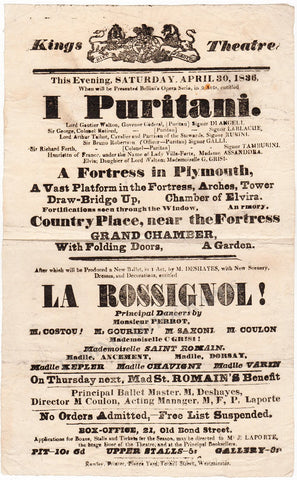 Kings Theatre 1836 Playbill - I Puritani with role creators