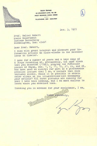 Kipnis, Igor - Typed Letter Signed 1977