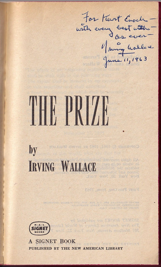 "Wallace, Irving - Signed Book ""The Prize"""