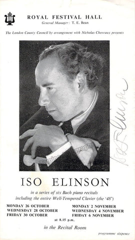 Elinson, Iso - Signed Program London 1940's