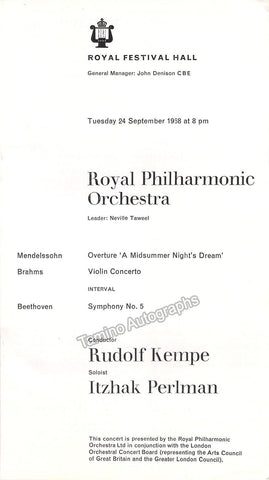 Perlman, Itzhak - Kempe, Rudolf - Program Royal Festival Hall 1968