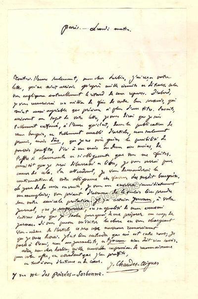 Chaudes-Aigues, Jacques-Germain - Autograph Letter Signed