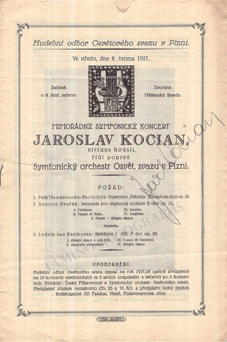 Kocian, Jaroslav - Signed Program 1927