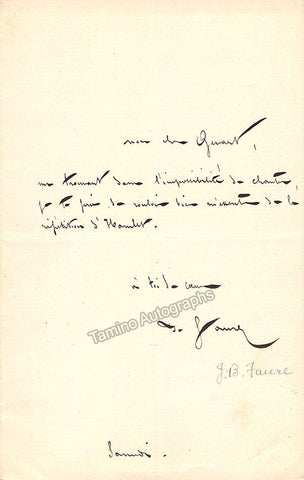 Faure, Jean-Baptiste - 2 Autograph Notes Signed