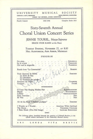 Tourel, Jennie - Signed Program 1945