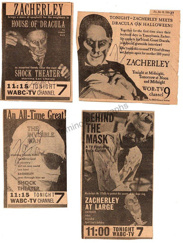 Zacherle, John - Set of 4 Signed Newspaper Clips