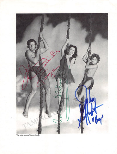 Weissmuller, Johnny - O'Sullivan, Maureen - Sheffield, Johnny - Triple Signed Photo
