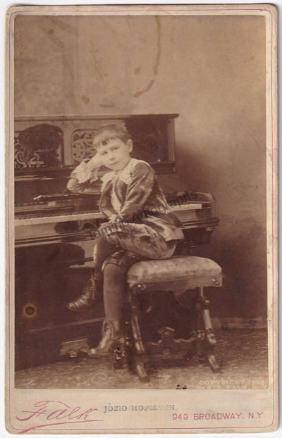 Hofmann, Josef - Unsigned Cabinet Photo at Age 11