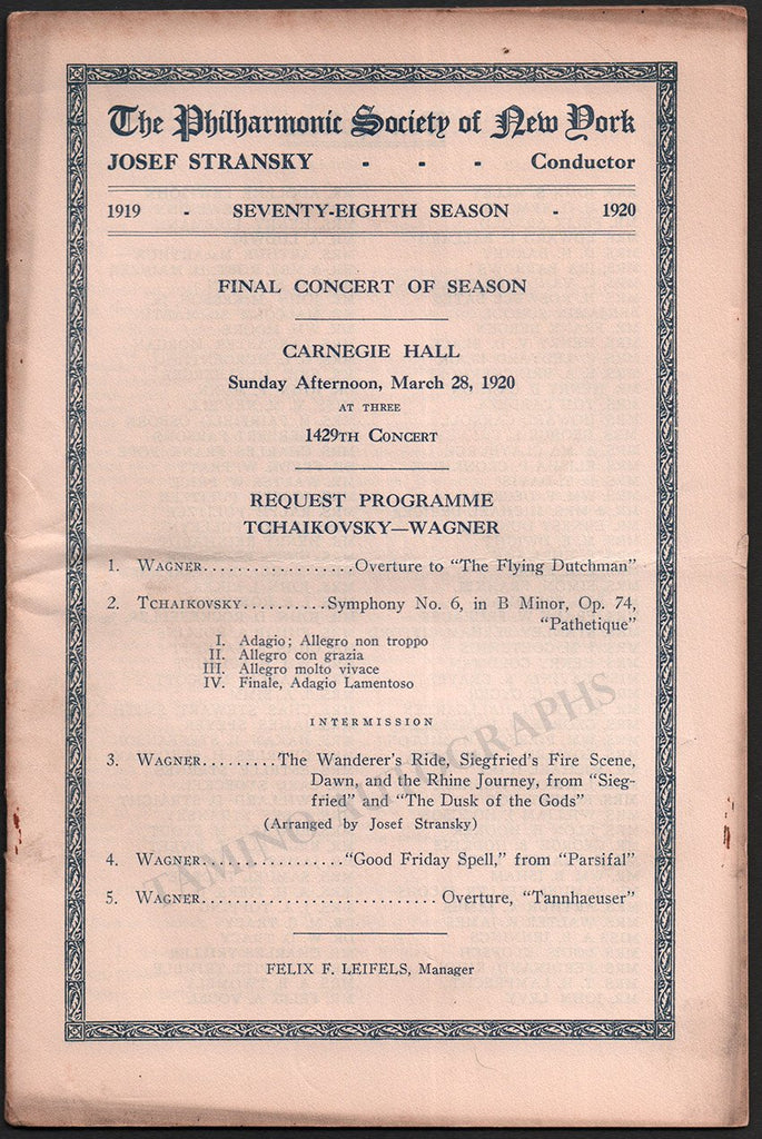 Stransky, Josef - Lot of 6 Concert Programs Carnegie Hall 1920-1921